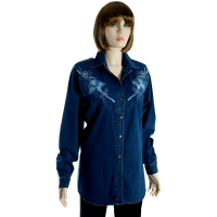Denim Embroidered Blouse
