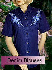 fine textured denim blouses