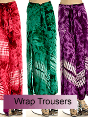 tiedye wrap trousers skirts